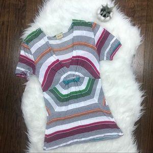 Ella Moss Multi Colored Striped Short Sleeve Top